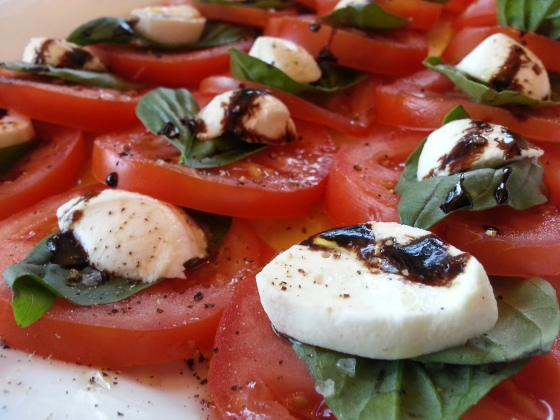 Close up caprese salad